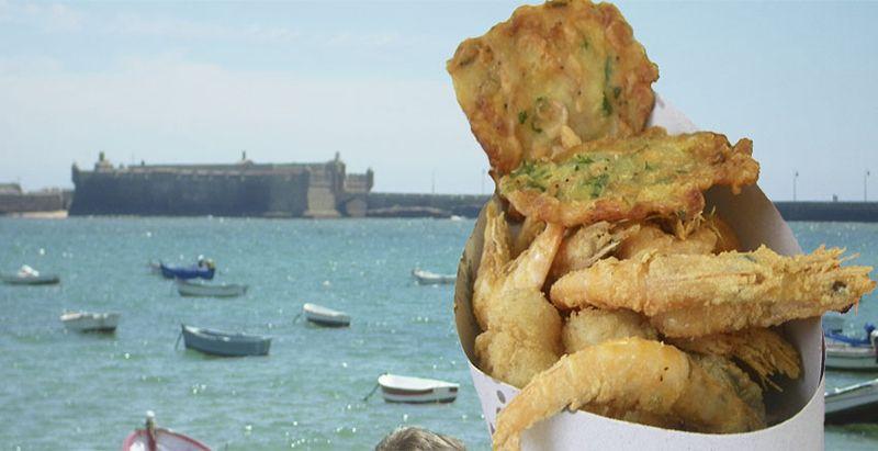 Comer marisco en Cádiz.