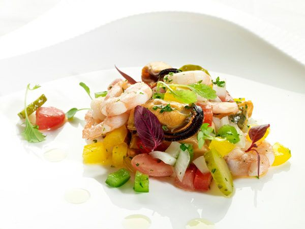 Salpicón de marisco. Alimento sano.