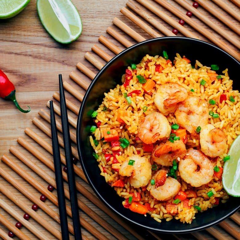 arroz con gamba frita