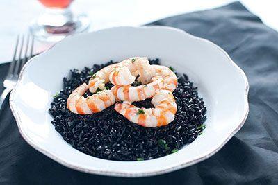 arroz negro con langostinos Asturias