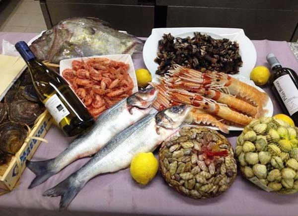 Mariscos y pescados en San Huberto